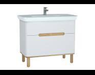 60825 - Sento lavabo dolabı, çift çekmeceli, ayaklı, 100 cm, mat beyaz