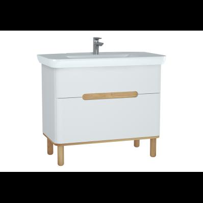 Sento lavabo dolabı, çift çekmeceli, ayaklı, 100 cm, mat beyaz