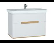 60826 - Sento lavabo dolabı, çift çekmeceli, ayaksız, 100 cm, mat beyaz