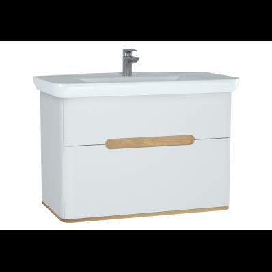 Sento lavabo dolabı, çift çekmeceli, ayaksız, 100 cm, mat beyaz