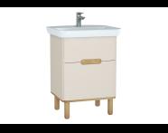 60827 - Sento lavabo dolabı, çift çekmeceli, ayaklı, 65 cm, mat krem