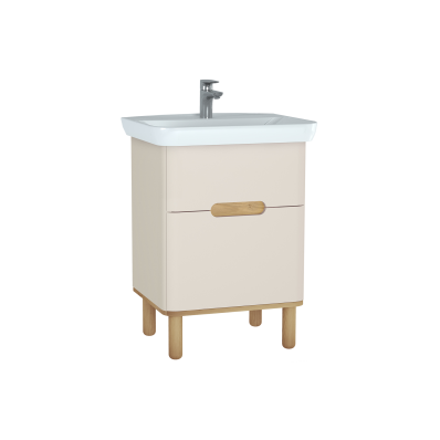 Sento lavabo dolabı, çift çekmeceli, ayaklı, 65 cm, mat krem