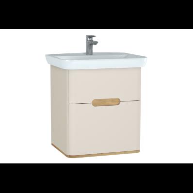 Sento lavabo dolabı, çift çekmeceli, ayaksız, 65 cm, mat krem