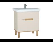 60829 - Sento lavabo dolabı, çift çekmeceli, ayaklı, 80 cm, mat krem
