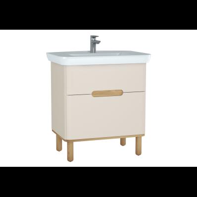Sento lavabo dolabı, çift çekmeceli, ayaklı, 80 cm, mat krem