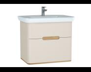 60830 - Sento lavabo dolabı, çift çekmeceli, ayaksız, 80 cm, mat krem