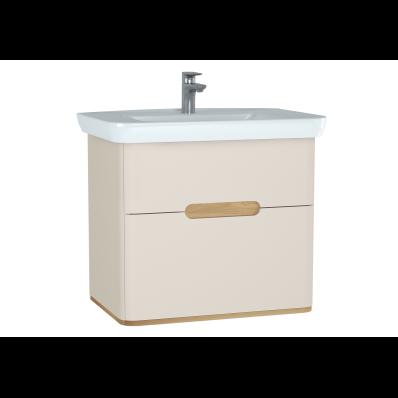 Sento lavabo dolabı, çift çekmeceli, ayaksız, 80 cm, mat krem