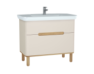 60831 - Sento lavabo dolabı, çift çekmeceli, ayaklı, 100 cm, mat krem