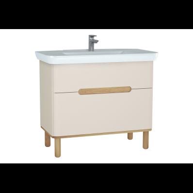 Sento lavabo dolabı, çift çekmeceli, ayaklı, 100 cm, mat krem