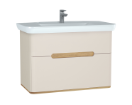 60832 - Sento lavabo dolabı, çift çekmeceli, ayaksız, 100 cm, mat krem