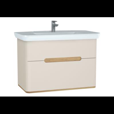 Sento lavabo dolabı, çift çekmeceli, ayaksız, 100 cm, mat krem