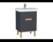 60833 - Sento lavabo dolabı, çift çekmeceli, ayaklı, 65 cm, mat antrasit
