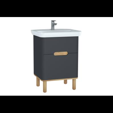 Sento lavabo dolabı, çift çekmeceli, ayaklı, 65 cm, mat antrasit
