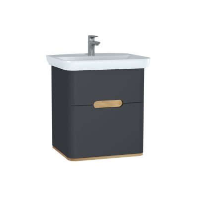 Sento Washbasin Unit, with 2 drawers, 65 cm, Matte Anthracite