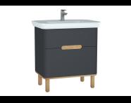 60835 - Sento lavabo dolabı, çift çekmeceli, ayaklı, 80 cm, mat antrasit