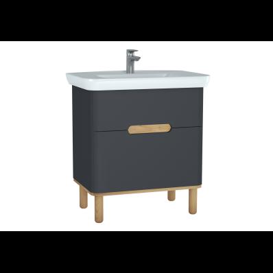 Sento lavabo dolabı, çift çekmeceli, ayaklı, 80 cm, mat antrasit
