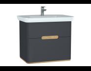 60836 - Sento lavabo dolabı, çift çekmeceli, ayaksız, 80 cm, mat antrasit
