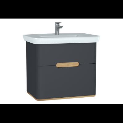 Sento lavabo dolabı, çift çekmeceli, ayaksız, 80 cm, mat antrasit