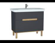 60837 - Sento lavabo dolabı, çift çekmeceli, ayaklı, 100 cm, mat antrasit