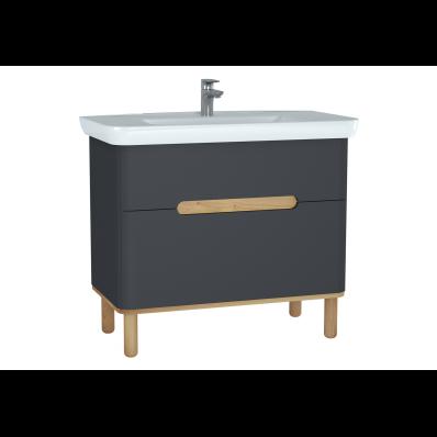 Sento lavabo dolabı, çift çekmeceli, ayaklı, 100 cm, mat antrasit