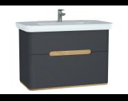 60838 - Sento lavabo dolabı, çift çekmeceli, ayaksız, 100 cm, mat antrasit