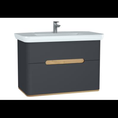 Sento lavabo dolabı, çift çekmeceli, ayaksız, 100 cm, mat antrasit