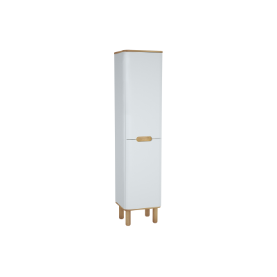 Sento Tall Unit, 40 cm, with laundry basket, with legs, Matte White, right
