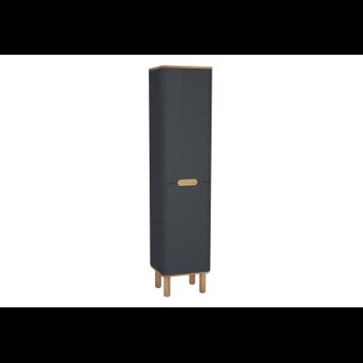 Sento boy dolabı, çamaşır sepetli, ayaklı, 40 cm, mat antrasit, sağ