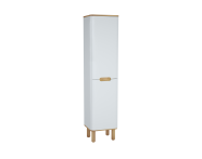 60851 - Sento boy dolabı, çamaşır sepetli, ayaklı, 40 cm, mat beyaz, sol