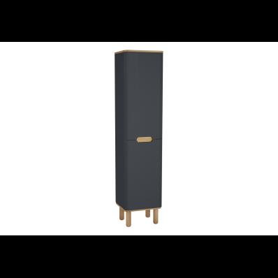 Sento boy dolabı, çamaşır sepetli, ayaklı, 40 cm, mat antrasit, sol
