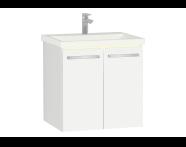 60900 - Ecora Lavabo Dolabı, kapaklı, seramik lavabolu, 60 cm, Parlak Beyaz
