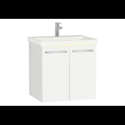 Ecora Lavabo Dolabı, kapaklı, seramik lavabolu, 60 cm, Parlak Beyaz