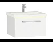 60904 - Ecora Lavabo Dolabı, tek çekmeceli, seramik lavabolu, 60 cm, Parlak Beyaz