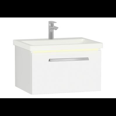 Ecora Lavabo Dolabı, 60 cm, Tek Çekmeceli, Seramik Lavabolu, Parlak Beyaz