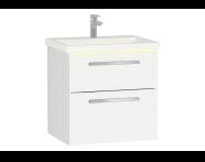 60908 - Ecora Lavabo Dolabı, çift çekmeceli, seramik lavabolu, 60 cm, Parlak Beyaz