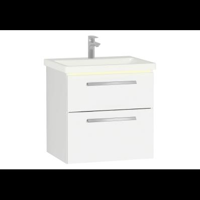 Ecora Lavabo Dolabı, çift çekmeceli, seramik lavabolu, 60 cm, Parlak Beyaz