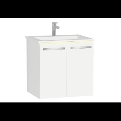 Ecora Lavabo Dolabı, kapaklı, infinit lavabolu, 60 cm, Parlak Beyaz
