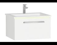 60916 - Ecora Lavabo Dolabı, tek çekmeceli, infinit lavabolu, 60 cm, Parlak Beyaz
