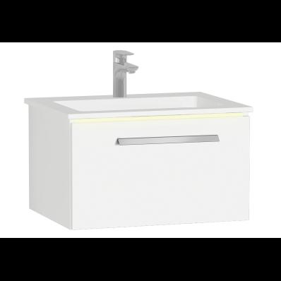 Ecora Lavabo Dolabı, tek çekmeceli, infinit lavabolu, 60 cm, Parlak Beyaz