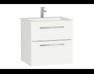 60920 - Ecora Lavabo Dolabı, çift çekmeceli, infinit lavabolu, 60 cm, Parlak Beyaz