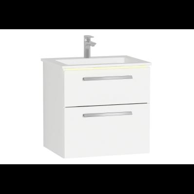 Ecora Lavabo Dolabı, 60 cm, Çift Çekmeceli, İnfinit Lavabolu, Parlak Beyaz