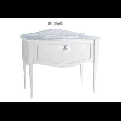 Elegance Lavabo Dolabı, 100 cm, Tezgahüstü Lavabolu, Mermersiz, Krom Kulplu, Mat Beyaz