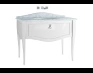 60985 - Elegance Lavabo Dolabı, tezgahaltı lavabolu, armatür deliksiz mermerli, 100 cm, Mat Beyaz, krom kulplu