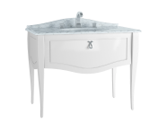 60993 - Elegance Washbasin Unit, 100 cm, with undercounter washbasin, with marble with 3 faucet holes, chrome handle, Matte White