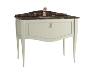 60995 - Elegance Washbasin Unit, 100 cm, with undercounter washbasin, with marble with 3 faucet holes, copper handle, Matte Sand Beige