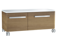 61009 - Nest Trendy Low Unit, 100 cm, with 2 drawers, with acryclic trop surface, Waved Natural Wood