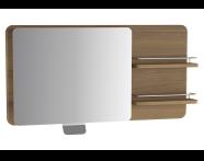 61011 - Nest Trendy Raflı Ayarlanabilir Düz Ayna, 100 cm, Hareli Doğal Ahşap, sol