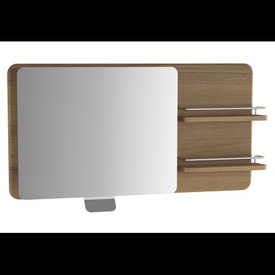 Nest Trendy Adjustable Mirror with shelves, 100 cm, Waved Natural Wood, left
