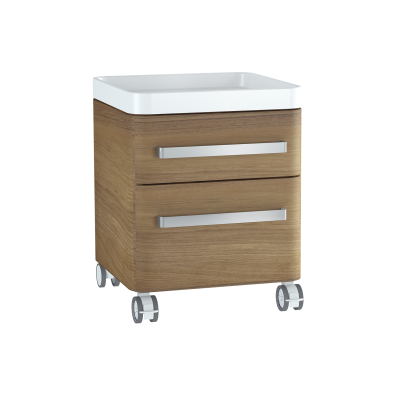 Nest Trendy Mobile Mid Unit, 45 cm, with 2 drawers, with acryclic tray, Waved Natural Wood