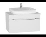 61023 - Folda Lavabo dolabı, tezgahüstü lavabolu, 80 cm, Parlak Beyaz